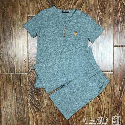 兩件套男士T恤運動套裝休閒體恤短袖男夏裝韓版夏季新款V領男裝潮