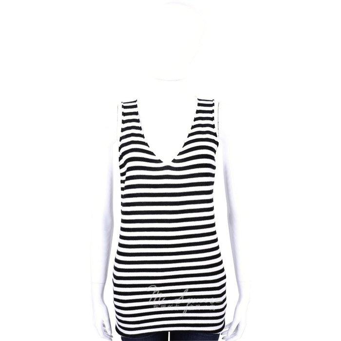 米蘭廣場 ALLUDE 40%CASHMERE V領條紋無袖針織上衣(黑X白) 1440543-37