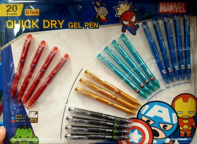 卡通速乾鋼珠筆20入 MARVEL系列/筆芯0.7MM-吉兒好市多COSTCO代購