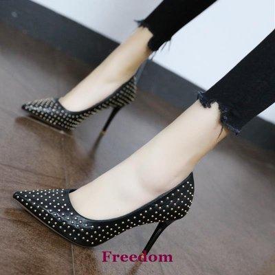 Freedom女鞋職業女士黑色高跟鞋歐美大牌細跟個性鉚釘尖頭單鞋女2019新款春季