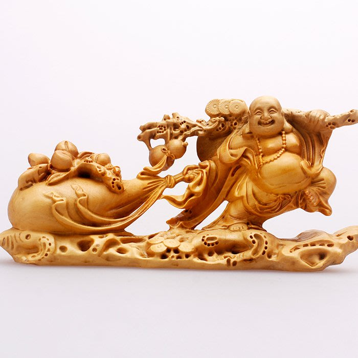 5Cgo【茗道】521449617306 黃楊木雕工藝品擺件布袋和尚彌勒佛雕刻古典茶玩送長輩精品佛像金玉滿堂福袋彌勒如意