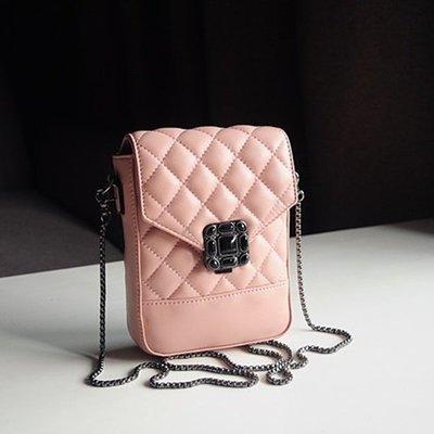 側背包 真皮 手機包-方格縫線牛皮鍊條女包包73yj46[獨家進口][米蘭精品]