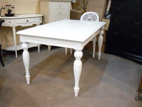 美生活館-- 歐美新款-- 新古典 凡賽斯 雕刻 白 餐桌 --另有 扶手椅可購