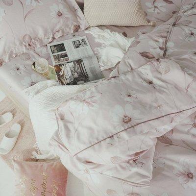60支天絲-薄床包鋪棉被套組【春絢】(雙人5尺) -絲薇諾