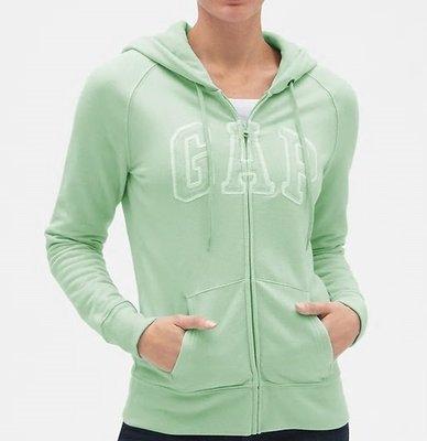 GAP美國品牌經典款logo嫩綠色連帽刷毛外套 全新 女生 S號 專櫃 正品 直購