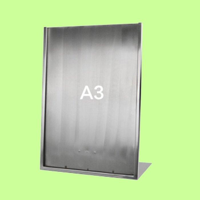 5Cgo【含稅】L型廣告牌黑金A4桌牌不鏽鋼價格牌專櫃台牌拉絲銀A3海報架子POP展示架含亞克力板16209415507