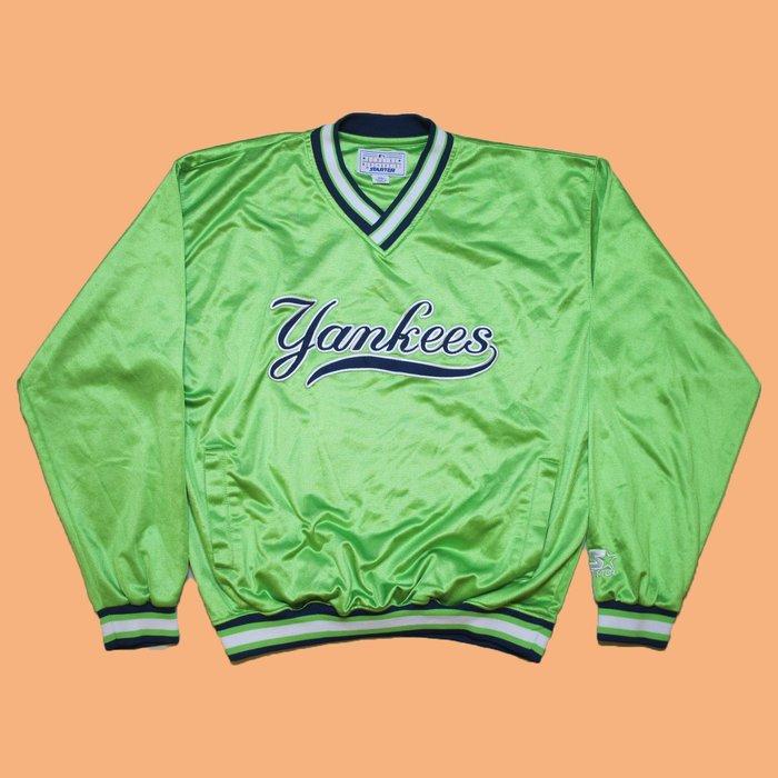 JCI:Vintage 罕見單品 Starter MLB 紐約 洋基隊 螢光綠 V領風衣外套 古著 / 90s