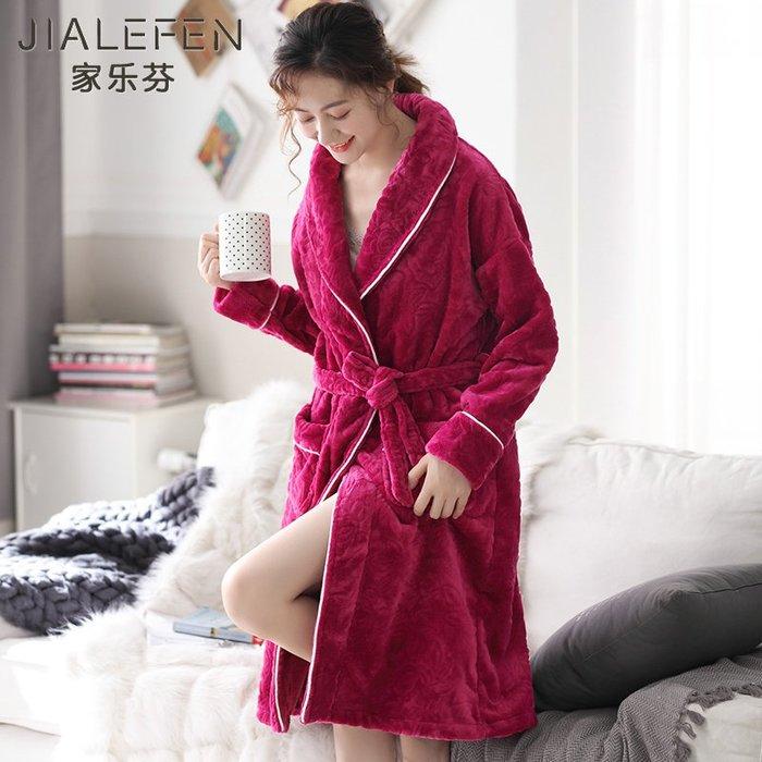 哈尼店鋪*睡袍女士秋冬季珊瑚絨加厚加長款法蘭絨浴袍冬款保暖睡衣媽媽浴衣優惠推薦