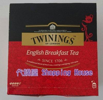 【代購屋】Costco 好市多 代購 Twinings 英倫早餐茶 (2g×100包/盒)/早餐茶/紅茶