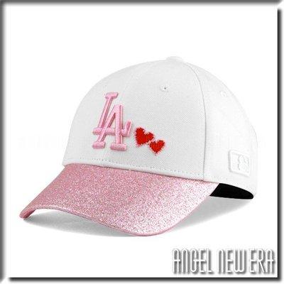 【PD帽饰】【ANGEL NEW ERA 】 MLB Old Fashioned Cap  道奇 LA 白 粉紅 老帽 金蔥 愛心