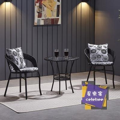 休閒桌椅 陽台桌椅藤椅三件套組合小茶几簡約單人椅子休閒戶外室外庭院騰椅T 4色【VIVI時尚】