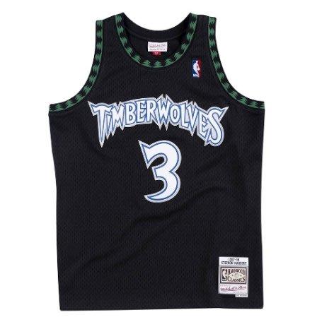 沃皮斯§Mitchell & Ness NBA 灰狼 #3MarburySMJYGS18393-MTIBLCK97SMB