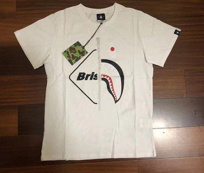 日本bathing ape bape shark FCRB 聯名款鯊魚圖案白色短袖T恤tee