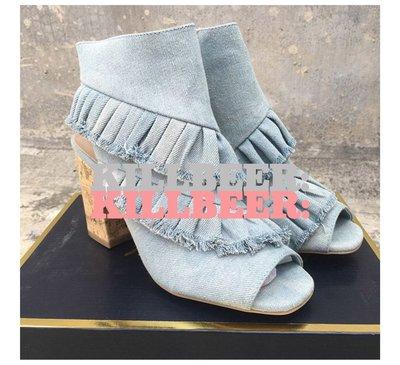 KillBeer:身為名媛的自傲之 歐美復古紐約名伶氣質單寧牛仔荷葉設計款粗跟魚口涼鞋高跟鞋032905