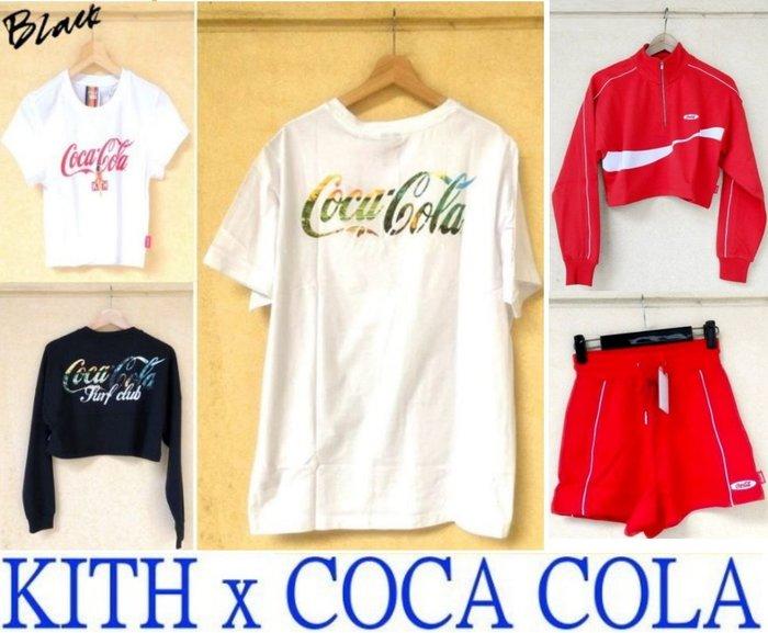 BLACK全新KITH x COCA COLA可口可樂WOMEN女生短版COKE短T