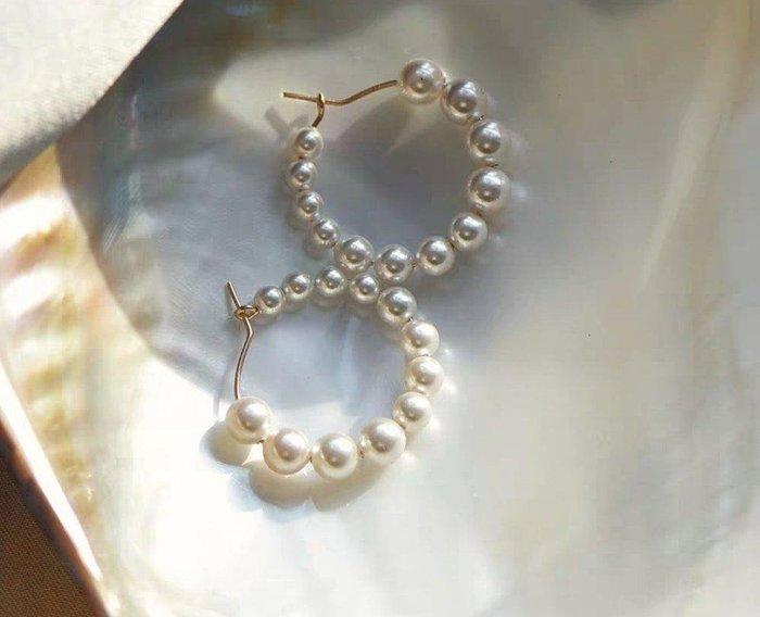 CN 氣質圓環天然淡水珍珠14K包金耳環 珍珠耳環  禮盒裝