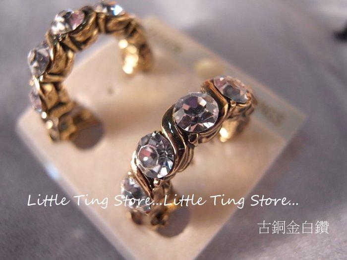 奧地利施華洛世奇SWAROVSKI 6顆水晶水鑽古銅金白鑽麻花貼耳環貼耳飾螺旋夾式 3色