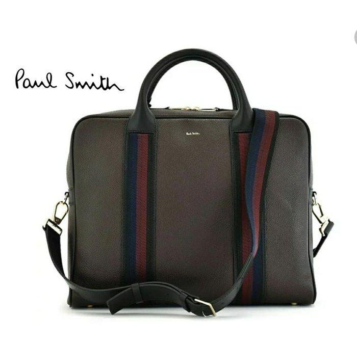 Paul Smith  ( 深棕色×藍紅條紋 )  真皮 手提包 肩背包 公事包 紳士包 中性款|100%全新正品|特價!