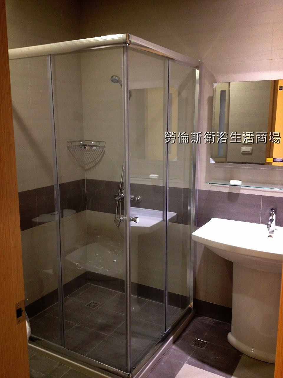 [勞倫斯衛浴-淋浴拉門]乾溼分離亮銀簡框直角雙門對開清強玻(含丈量+施工)衛浴設備淋浴拉門