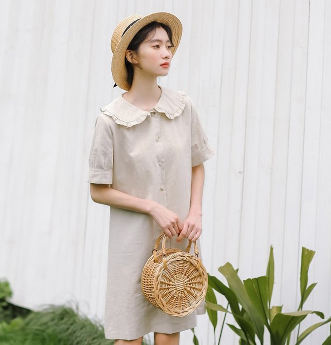 SeyeS  森林系雜誌款開扣娃娃領洋裝