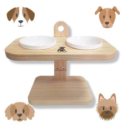 A2215 可調式原木碗架 兩口(陶瓷碗X2) 寵物碗架 貓狗碗架 原木碗架 毛小孩 寵物碗 寵物餐桌 寵物托高碗架