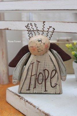 Rose Forest 薔薇森林~~ HOPE希望 木製鄉村天使擺飾 教會佈置