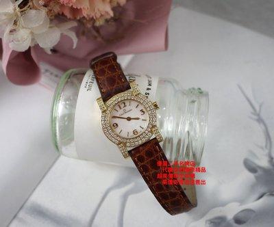 優買二手精品名牌店 BUCHERER 寶齊萊 PATHOS 750 黃 K 金 女神 女 鑽 石 錶 手錶 美品 原裝
