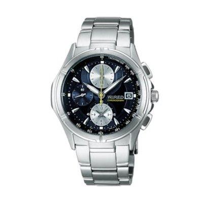 SEIKO WIRED 三眼時尚計時腕錶(AF8M61X)-藍灰/38mm