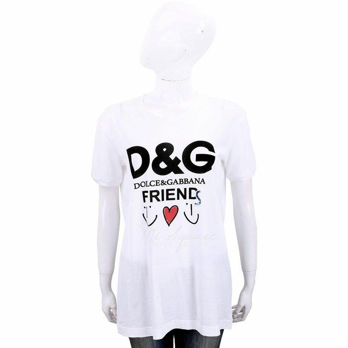 米蘭廣場 DOLCE & GABBANA 亮片字母印花白色輕質棉短T恤 1910003-20 40號