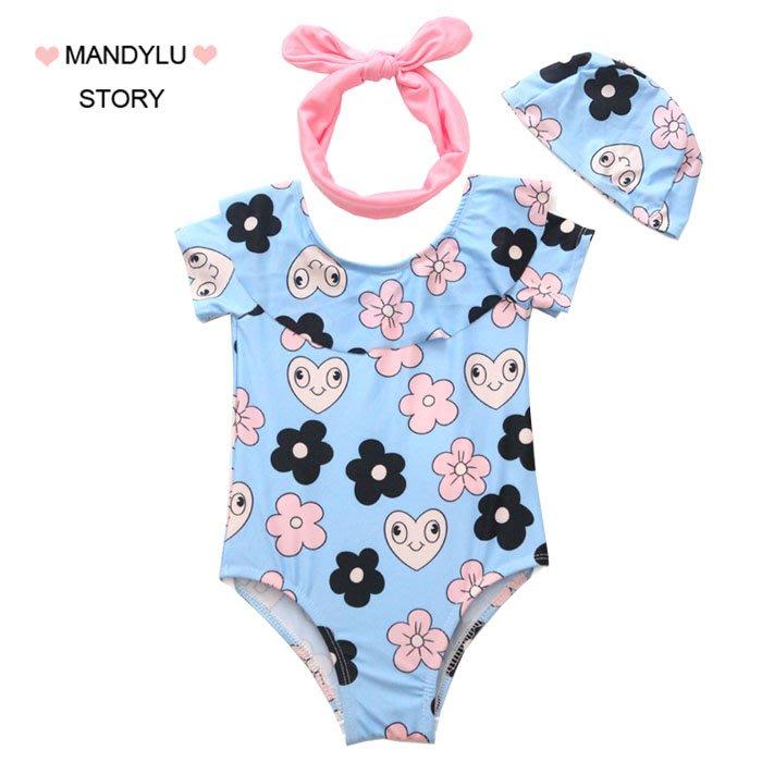 5Cgo【鴿樓】含稅會員有優惠 567383035835 兒童泳衣韓版女孩嬰兒可愛連體寶寶旅遊度假泡溫泉遊泳衣1-3歲