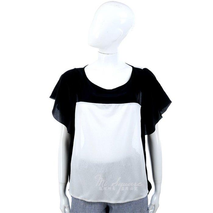 米蘭廣場 CLASS roberto cavalli 黑白色拼接設計荷葉造型短袖上衣 1310601-37