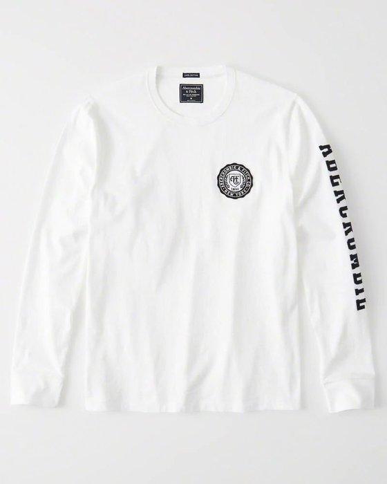 Maple麋鹿小舖 Abercrombie&Fitch * AF 白色電繡徽章字母長T * ( 現貨M號 )