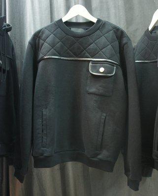 [ 羅崴森林 ] PRADA MILANO 米蘭時尚新品 黑超厚棉水手領運動衫 菱格紋+皮革禦寒衛衣7折