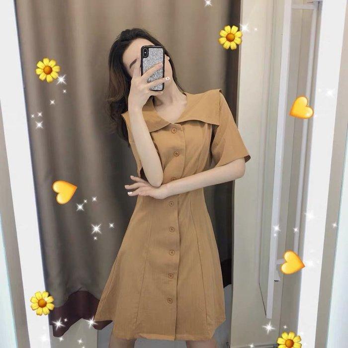 港版復古連身裙洋裝襯衫裙短裙