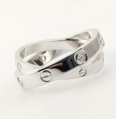 (可缐上無息分期刷卡)Cartier 卡地亞LOVE 18白K金6鑽52號  國際戒圍11號 內直徑1.66cm 專櫃售價115000