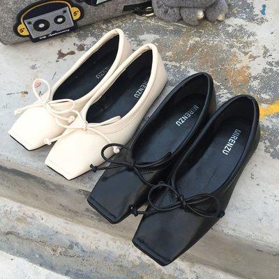 瓢鞋女春秋新款2018韓版方頭單鞋蝴蝶結淺口百搭平底芭蕾舞孕婦鞋