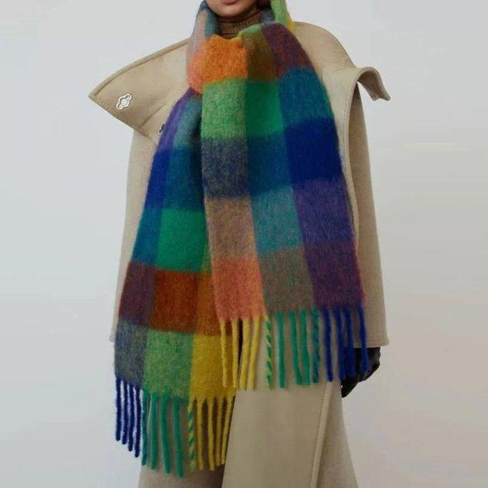 SEYES 超美柔軟配色彩色格紋保暖圍巾/披肩