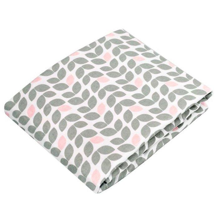 【兔寶寶部屋】加拿大原裝進口Kushies棉絨嬰兒床床包-淺灰花紋70 x 140cm (厚床墊適用)