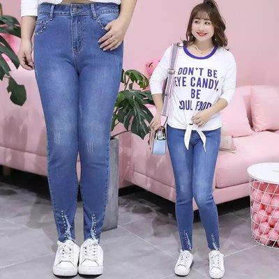 ✿plump girl 甜美✿中大尺碼女裝孕婦裝鉚釘牛仔褲韓版時尚毛邊九分褲N016