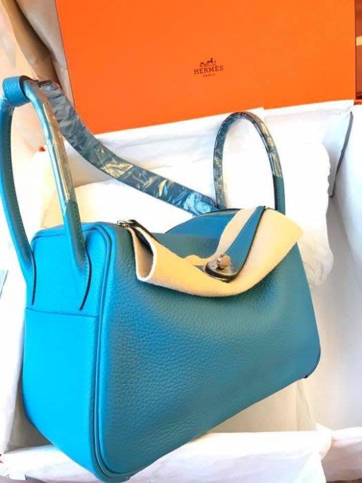 Hermes 26 cm 愛馬仕 lindy bag ~ 7B 松石藍 銀釦