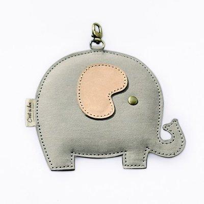 C'est Si Bon|【現貨】洗舊皮革紙鑰匙圈零錢包/卡包-動物狂想曲(粉嫩灰小象) 禮品 盒裝