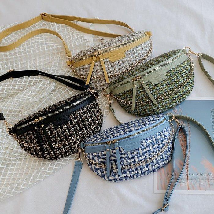 FINDSENSE X 韓國 女士 時尚毛呢格紋 小腰包 胸包 多功能 斜挎包 側背包 單肩包