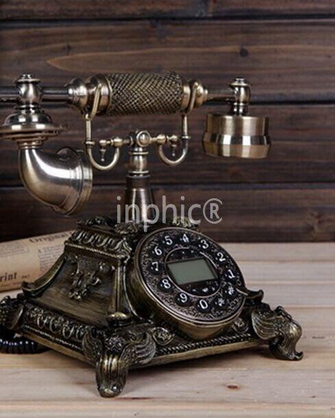 INPHIC-時尚電話復古電話機 歐式田園復古電話 家庭座機電話
