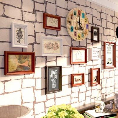 復古高端實木照片墻酒吧裝飾畫掛飾客廳相片墻餐廳臥室墻畫壁飾《ANGEL時尚館》xh1339