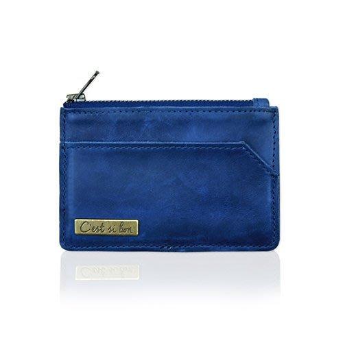C'est Si Bon|【現貨。免運】復古洗色款進口真皮零錢包/名片夾/票卡夾-懷舊藍 II 禮品 盒裝