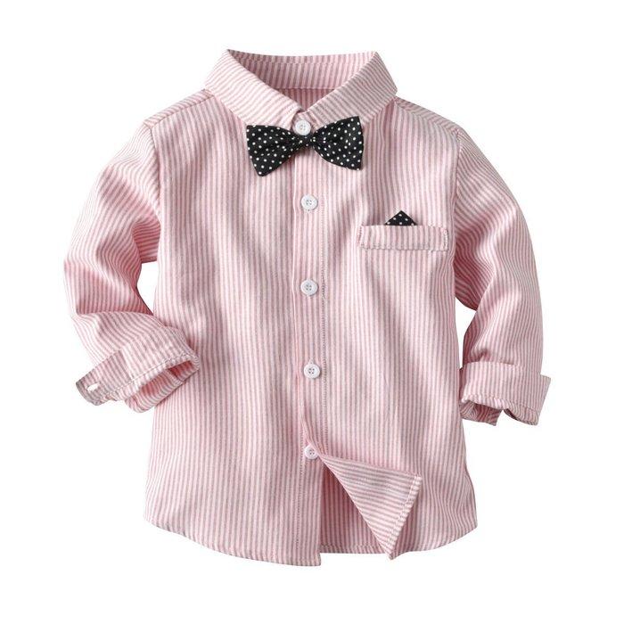 歐美童開衫新款 童裝  男童 襯衣 紳士服波點領結條紋長袖襯衫 襯衣