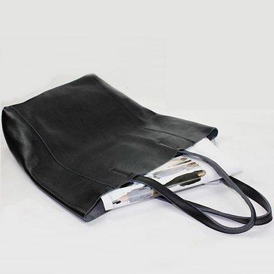 手提包 真皮 托特包-肩背經典黑色牛皮女包包73vi19[獨家進口][米蘭精品]