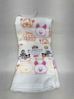 日本製 日本Disney 迪士尼 紗布巾 毛巾 嬰兒紗布巾 100%棉 TSUM TSUM橘黃色系