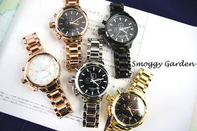 【Smoggy Garden】韓 DON BOSCO 韓國品牌復古轉軸設計簡約刻度日期顯示假三眼金屬錶帶鍊錶手錶 韓錶