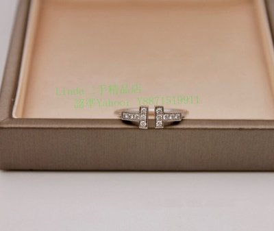 二手真品Tiffany蒂芙尼 T 系列 鑲鑽線圈戒指 18K 白金 鑽石戒指 GRP07760 現貨